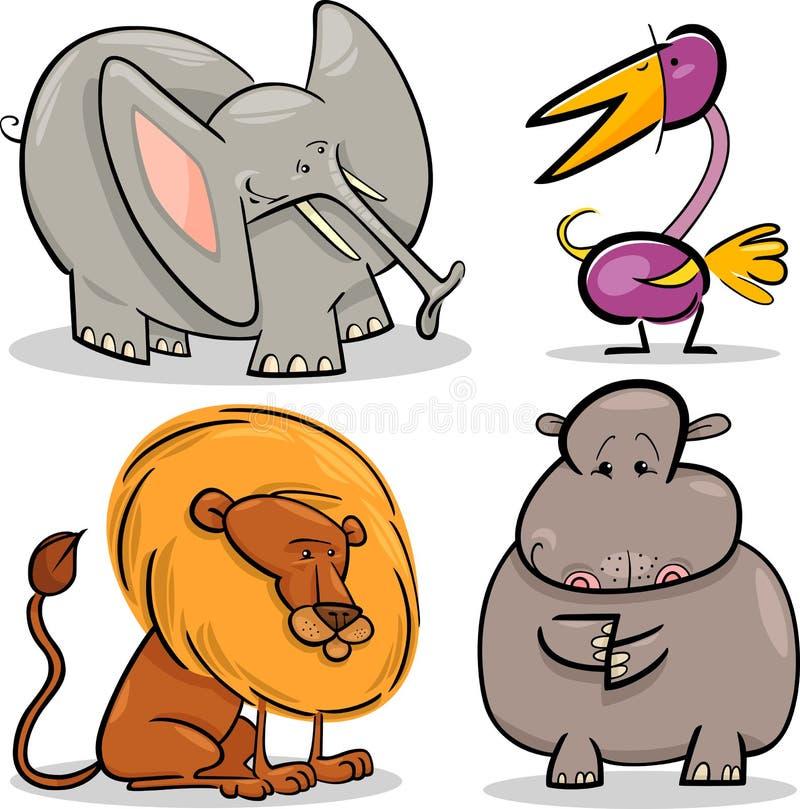 Afrikanische Tiere der netten Karikatur eingestellt vektor abbildung