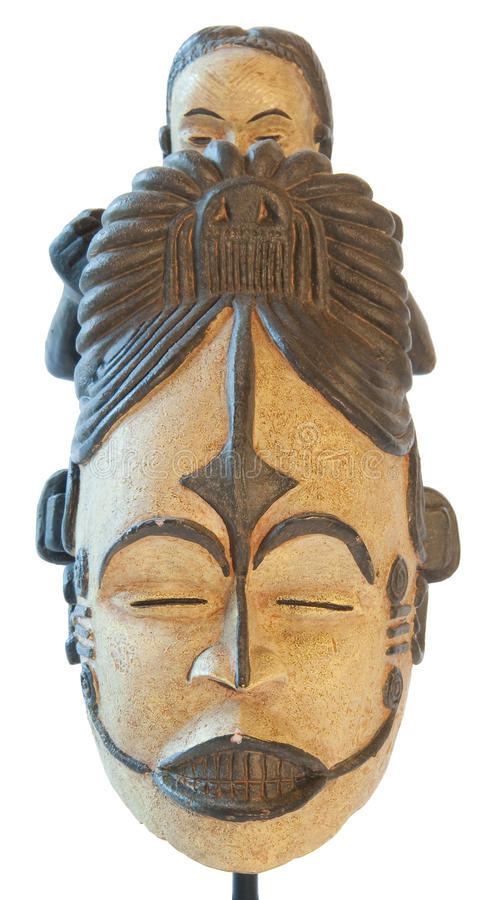 Afrikanische traditionelle Skulptur des Mutterschaftssymbols stockfoto