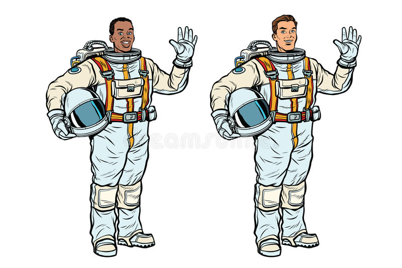 Afrikanische und kaukasische Astronauten in den Spacesuits stock abbildung