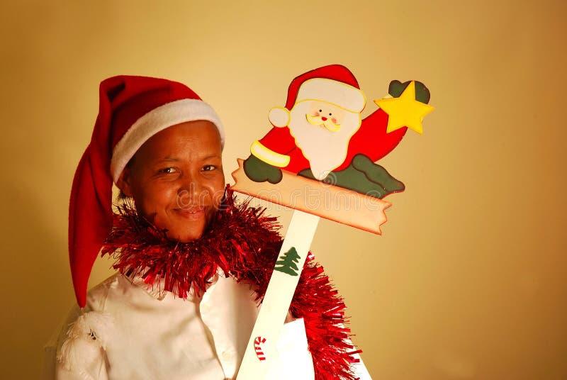 Afrikanische Weihnachtsfrau lizenzfreie stockfotos