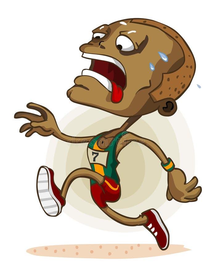 Afrikanischer Athlet auf Marathon lizenzfreie abbildung