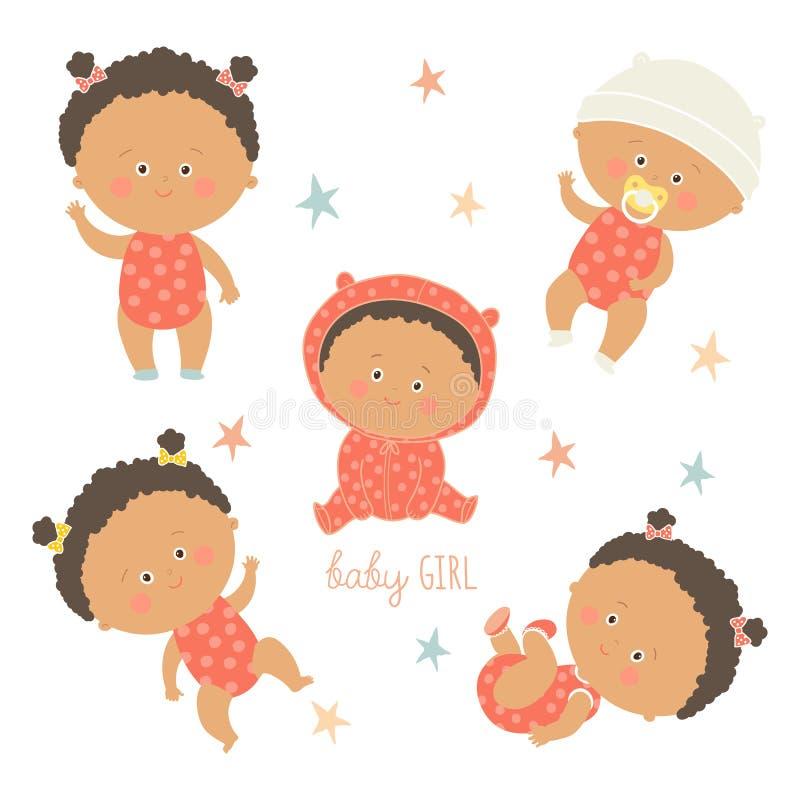 Afrikanischer Babysatz Afroamerikanerkleinkindjungen vektor abbildung
