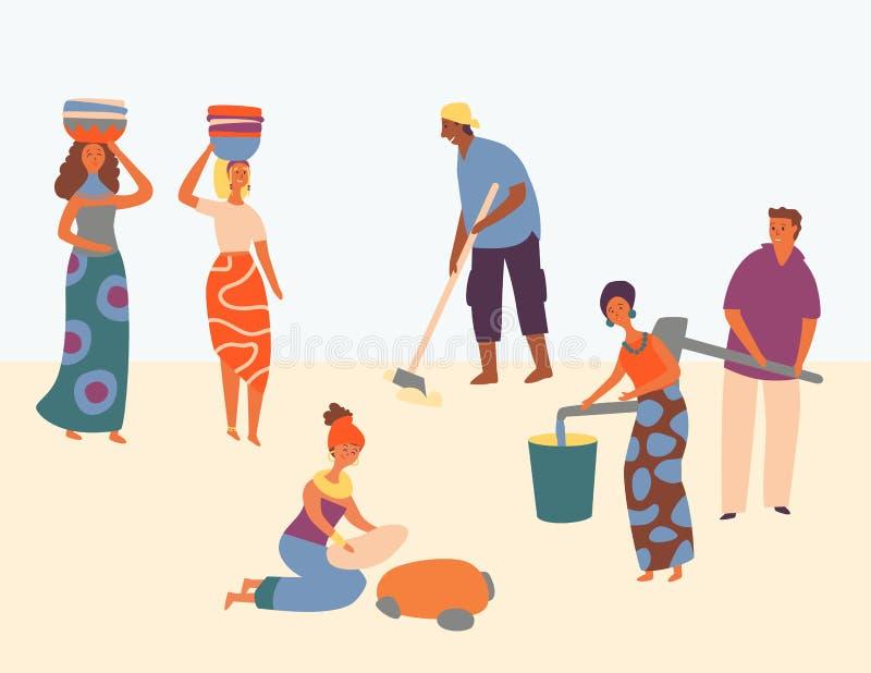 Afrikanischer Charakter-hart arbeitend Bühnenbild-Art vektor abbildung