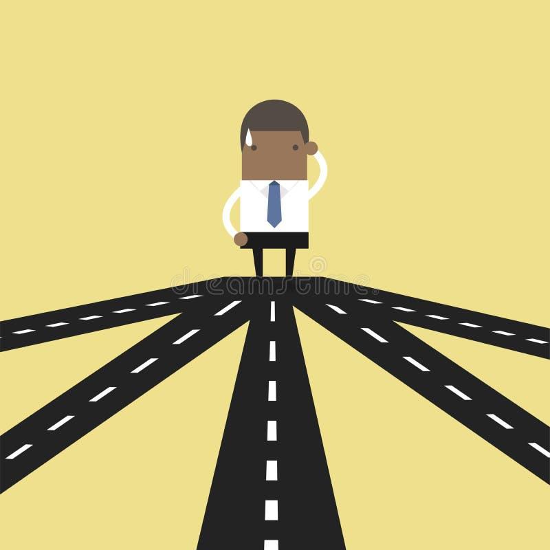 Afrikanischer Geschäftsmann auf der Kreuzung, die zukünftige Richtung zum Erfolg oder zur Geschäftsstrategie wählt lizenzfreie abbildung