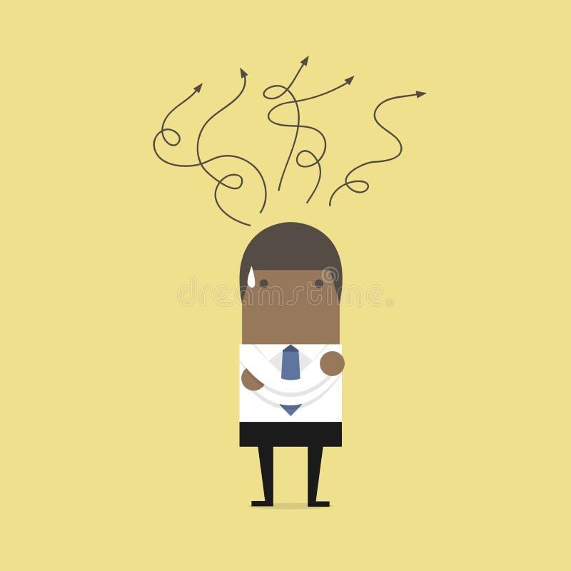 Afrikanischer Geschäftsmann, der an Wahl denkt Entscheidungskonzept vektor abbildung