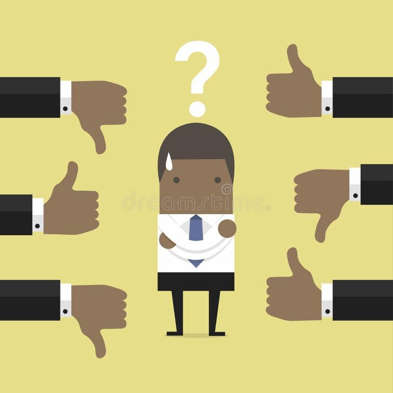 Afrikanischer Geschäftsmann erhalten Feedback von anderen Leuten lizenzfreie abbildung