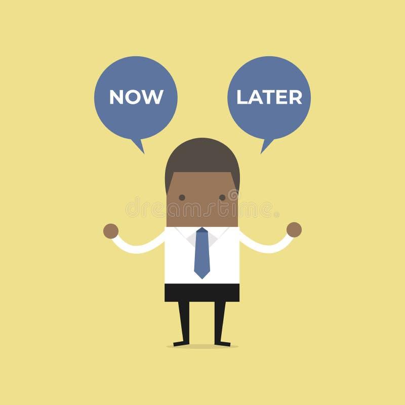 Afrikanischer Geschäftsmann mit jetzt oder neuerer Ballontext Ausgewählte Wahl des Geschäftsmannes jetzt oder später vektor abbildung
