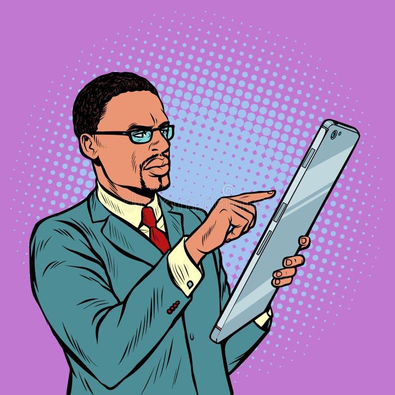 Afrikanischer Geschäftsmann und Smartphone mit Großleinwand vektor abbildung