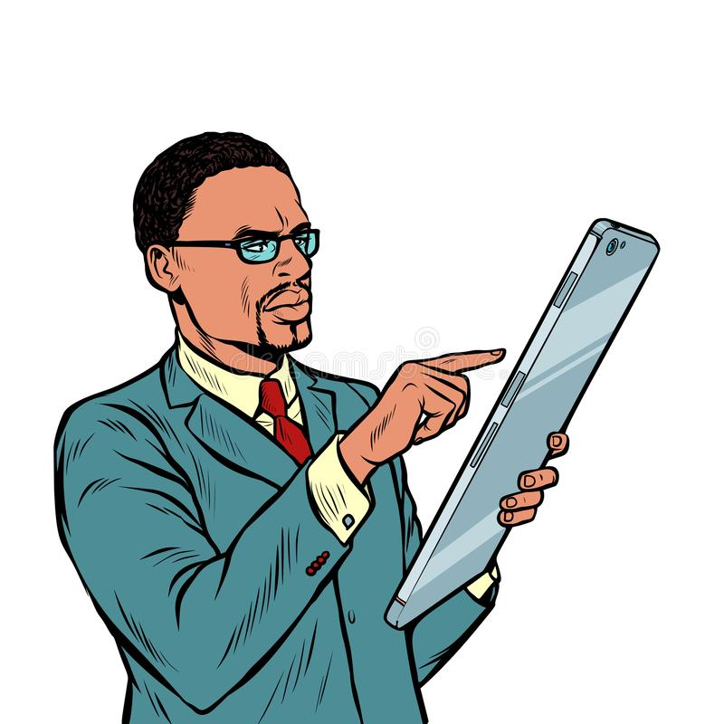 Afrikanischer Geschäftsmann und Smartphone mit Großleinwandisolat auf weißem Hintergrund vektor abbildung