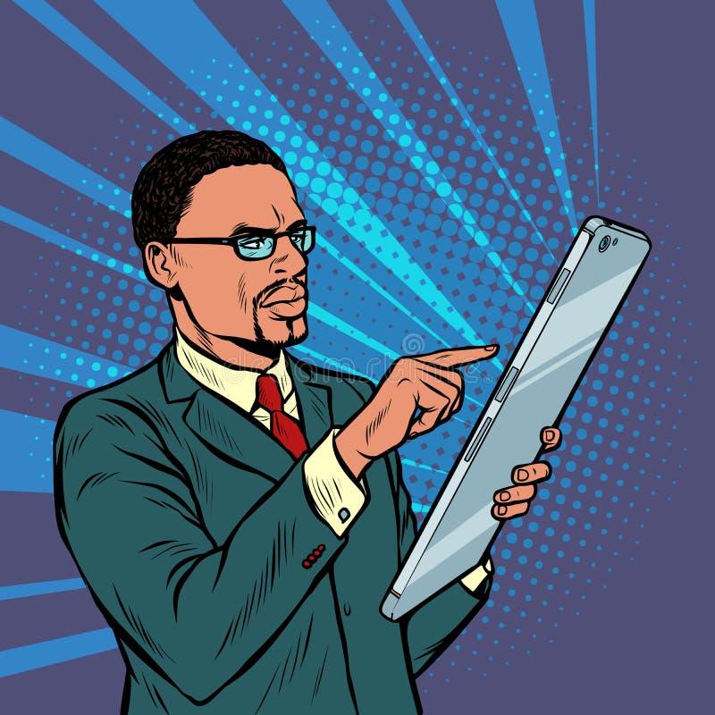 Afrikanischer Gesch?ftsmann und Smartphone mit Gro?leinwand vektor abbildung