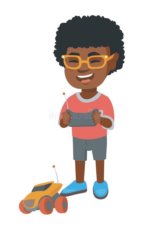 Afrikanischer Junge, der mit einem Radio-kontrollierten Auto spielt lizenzfreie abbildung