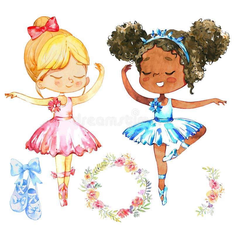 Afrikanischer kaukasischer Ballerina-Mädchen-Zeichensatz Nettes Freundabnutzung Blau und rosa Ballettröckchen-Kleidertraining in  lizenzfreie abbildung