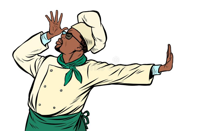 Afrikanischer Kochchef, Geste der Schande Ablehnung nein lizenzfreie abbildung