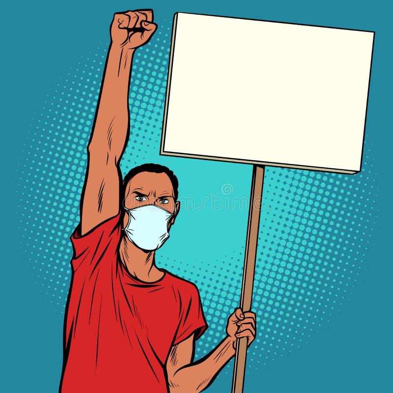 Afrikanischer Mann, der in der Maske protestiert lizenzfreie abbildung