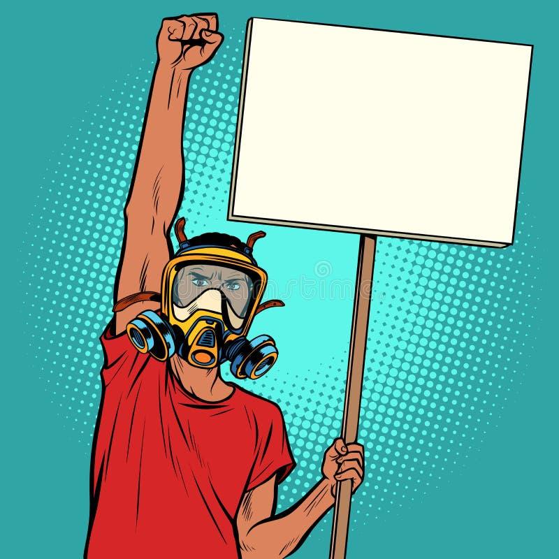 Afrikanischer Mannprotest gegen verunreinigte Luft, Ökologie und environmen stock abbildung