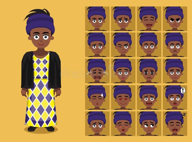 Afrikanischer Stamm kleidet weibliche Hausa-Karikatur Emoticon-Gesichts-Vektor-Illustration lizenzfreie abbildung
