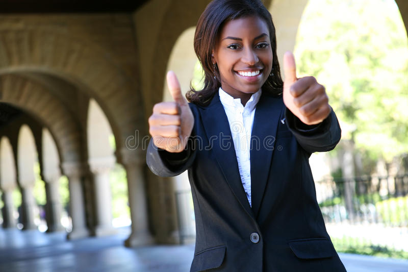 Afrikanischer Studentin-Erfolg stockfotos