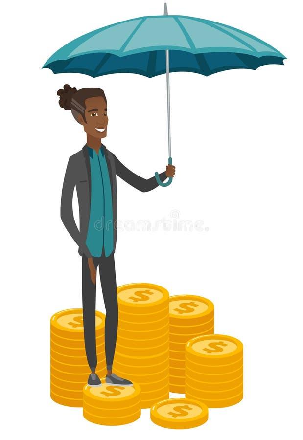 Afrikanisches Betriebsversicherungsmittel mit Regenschirm lizenzfreie abbildung
