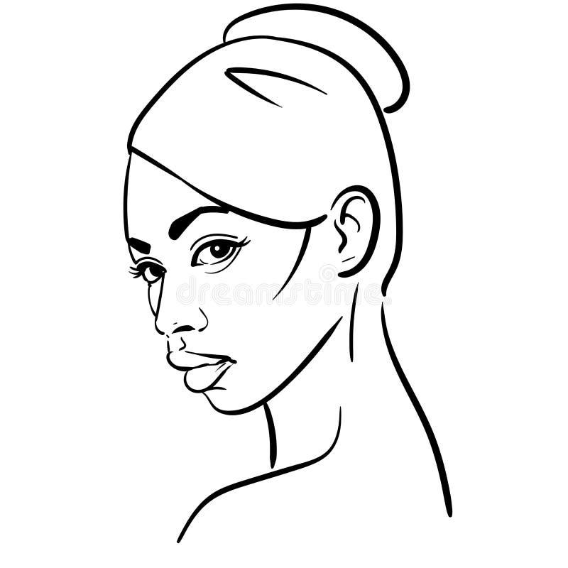 Afrikanisches Frauen-Gesicht Porträtkarikatur-Schwarzweiss-Art Vektor Abbildung lizenzfreie abbildung