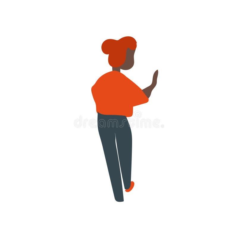 Afrikanisches Mädchenstellungsvektorvektorzeichen und -symbol lokalisiert auf weißem Hintergrund, afrikanisches Mädchenstellungsv stock abbildung