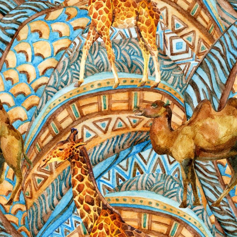 Afrikanisches nahtloses Muster im Aquarell vektor abbildung