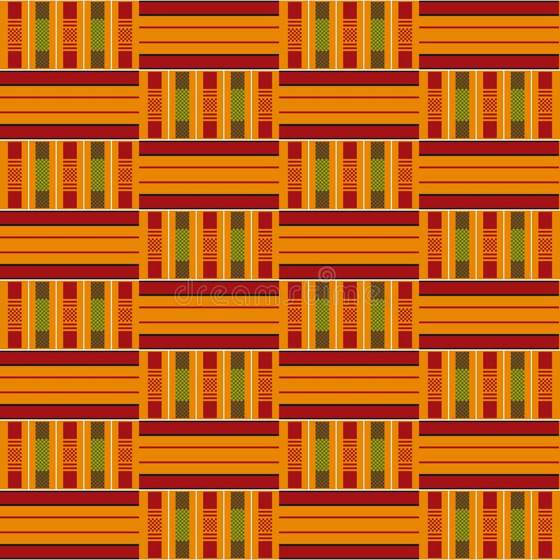 Afrikanisches nahtloses Muster Stoff kente Stammes- Druck lizenzfreie abbildung