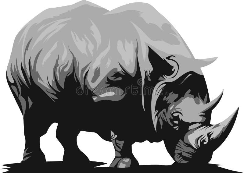 Afrikanisches Nashorn Schwarzes Nashorn des Vektors vektor abbildung