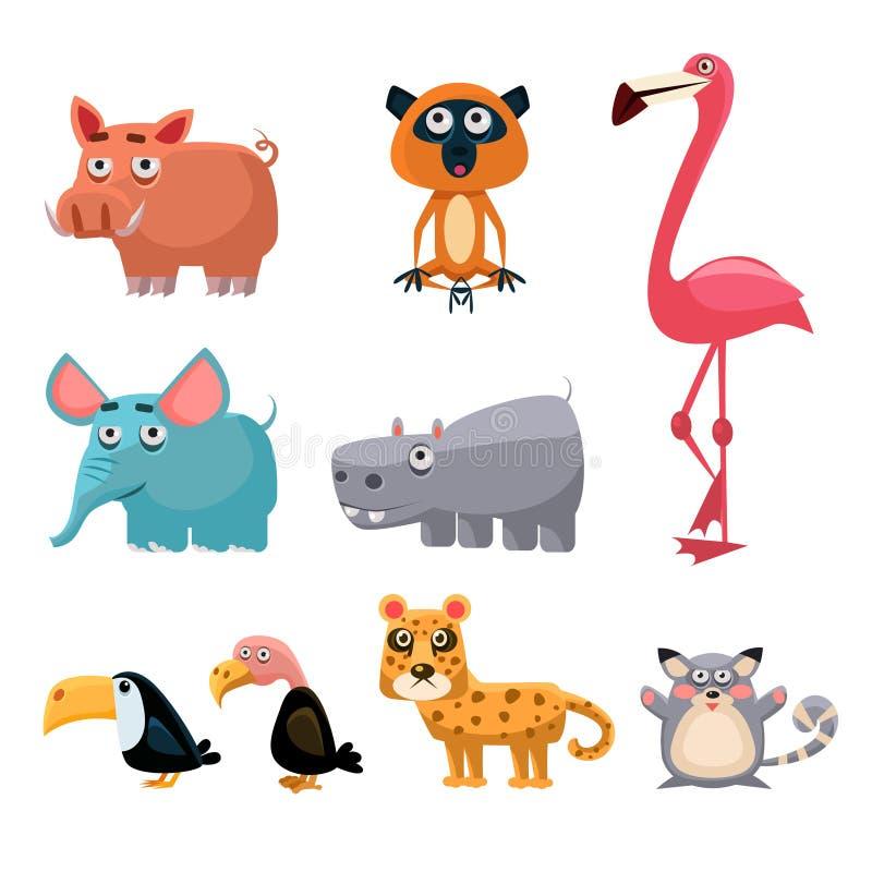 Afrikanisches Tier-Spaß-Karikatur-Klipp Art Collection Vektor ...