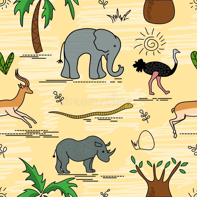 Afrikanisches Tiere und Pflanzen Nahtloses Muster der Safaritiere lizenzfreie abbildung