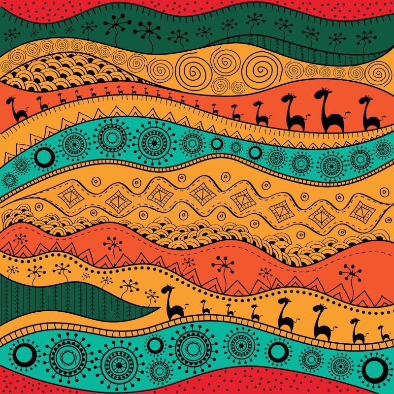 Afrikanisches von Hand gezeichnetes ethno Muster, Stammes- Hintergrund Es kann für Tapete, Webseite und andere verwendet werden A lizenzfreie abbildung
