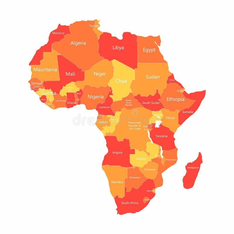 Afrikansk översikt för vektor med landsgränser Abstrakta röda och gula afrikanska länder på översikt vektor illustrationer