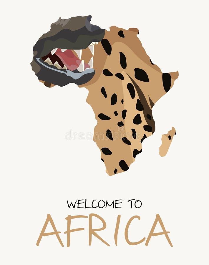 Afrikansk översiktsillustration för prickig hyena royaltyfri illustrationer