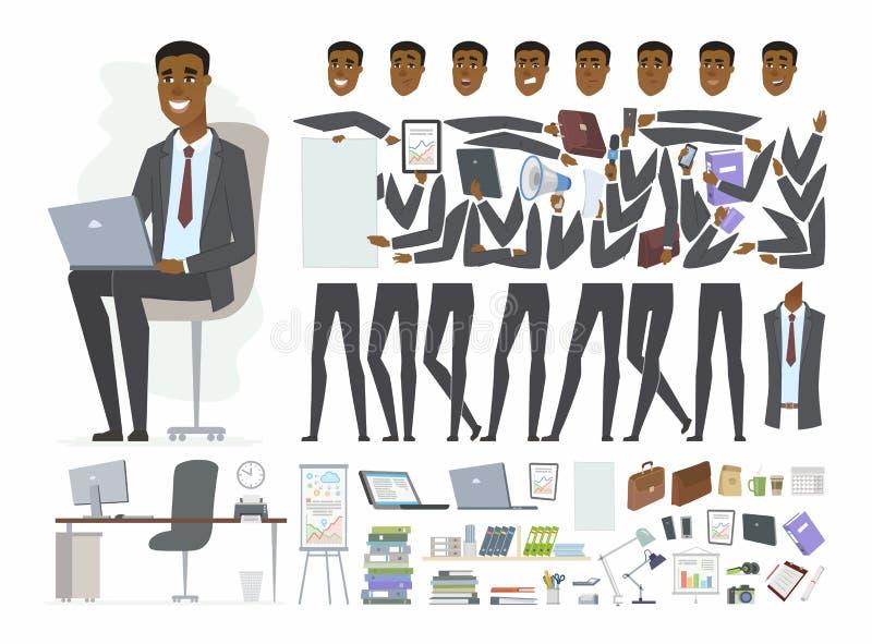 Afrikansk affärsman - konstruktör för tecken för vektortecknad filmfolk stock illustrationer
