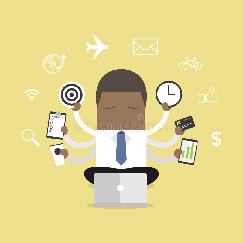 Afrikansk affärsman med multitasking och mång- expertis royaltyfri illustrationer