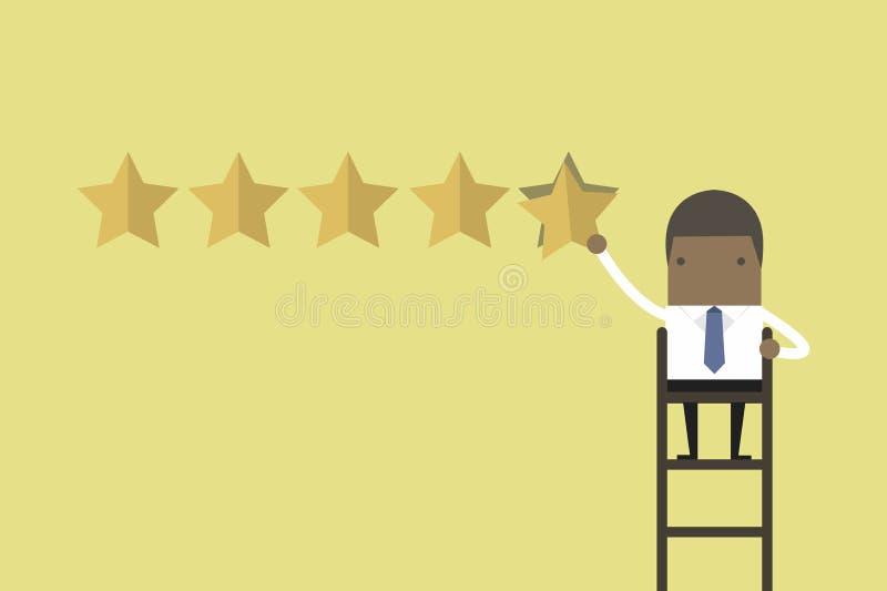 Afrikansk affärsman som ger värdering för fem stjärna vektor illustrationer
