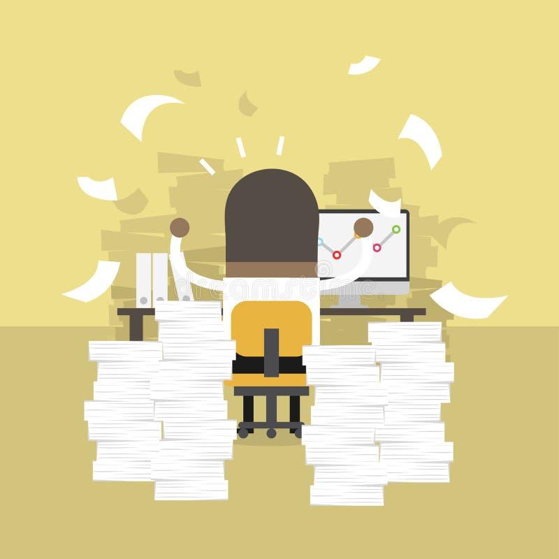 Afrikansk affärsman som mycket är upptagen på kontorstabellen Hårt begrepp för arbete royaltyfri illustrationer