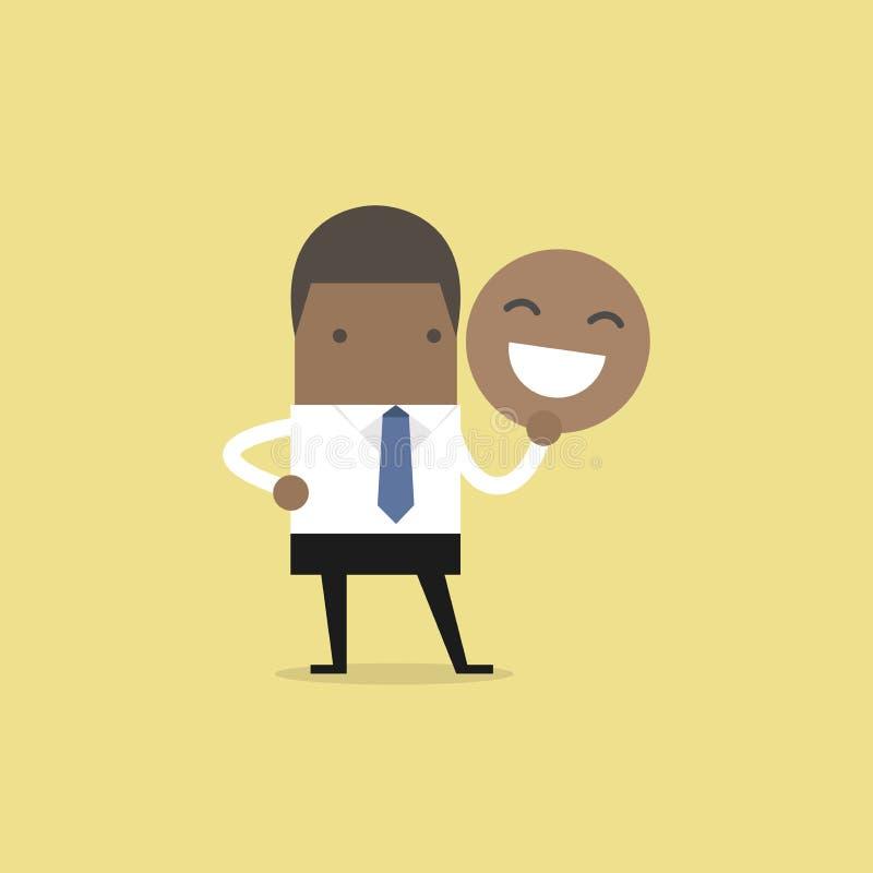 Afrikansk affärsman som rymmer en leendemaskering royaltyfri illustrationer