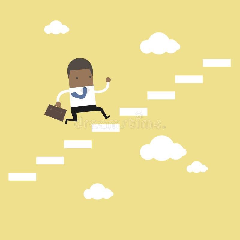 Afrikansk affärsman som upp kliver en trappuppgång till framgång stock illustrationer