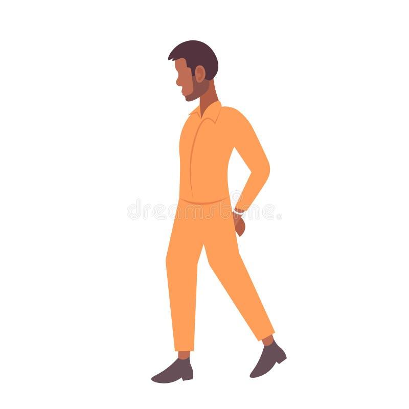Afrikansk amerikan handfängslad fångemanbrottsling i den manliga tecknade filmen för orange enhetligt begrepp för gripandedomstol royaltyfri illustrationer