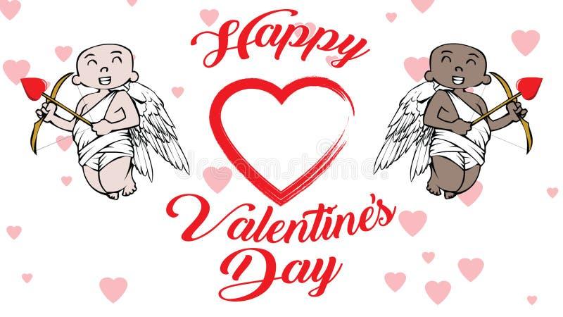 Afrikansk amerikan och vita kupidon med valentindaglogo och hjärtor stock illustrationer