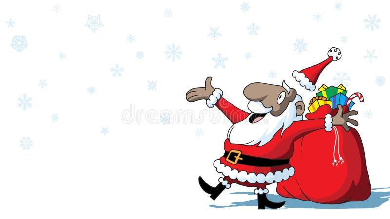 Afrikansk amerikan Santa Claus för glad jul med leksaker på vit bakgrund med snöflingor stock illustrationer