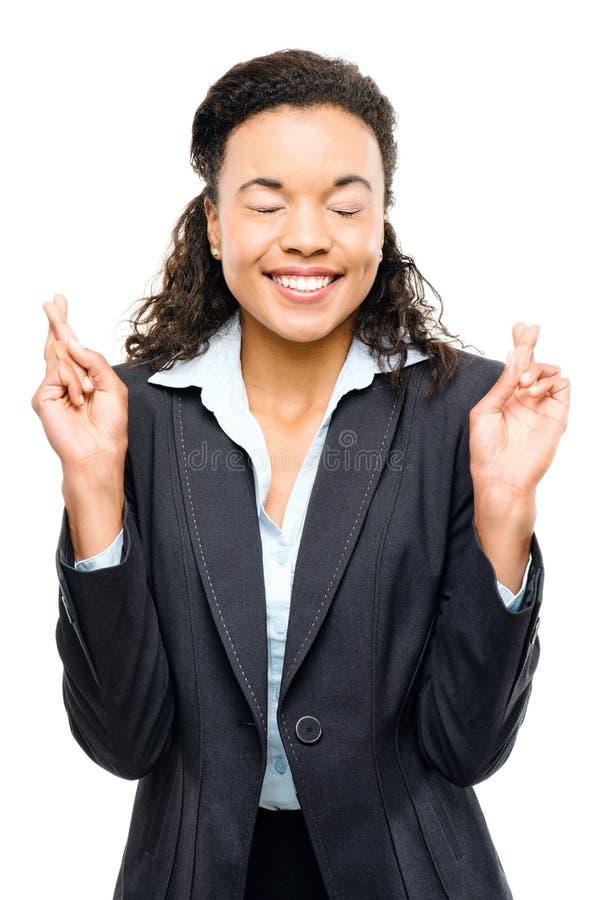 Afrikansk amerikanaffärskvinna som önskar isolerad vit bakgrund royaltyfri foto