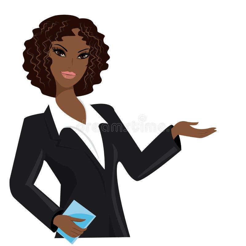Afrikansk amerikanaffärskvinna, tecknad filmvektorillustration vektor illustrationer