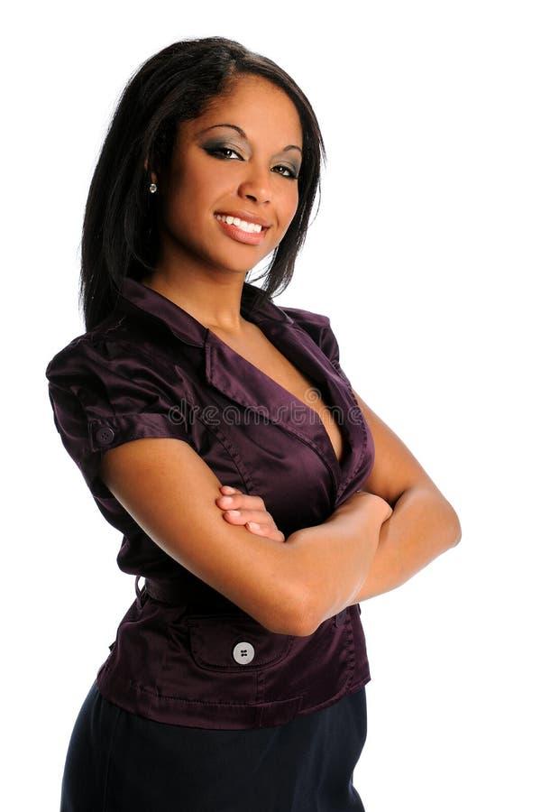 afrikansk amerikanaffärskvinnastående royaltyfria foton