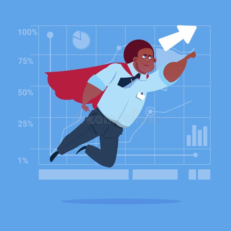 Afrikansk amerikanaffärsman Super Hero Fly upp finansiell grafpil stock illustrationer
