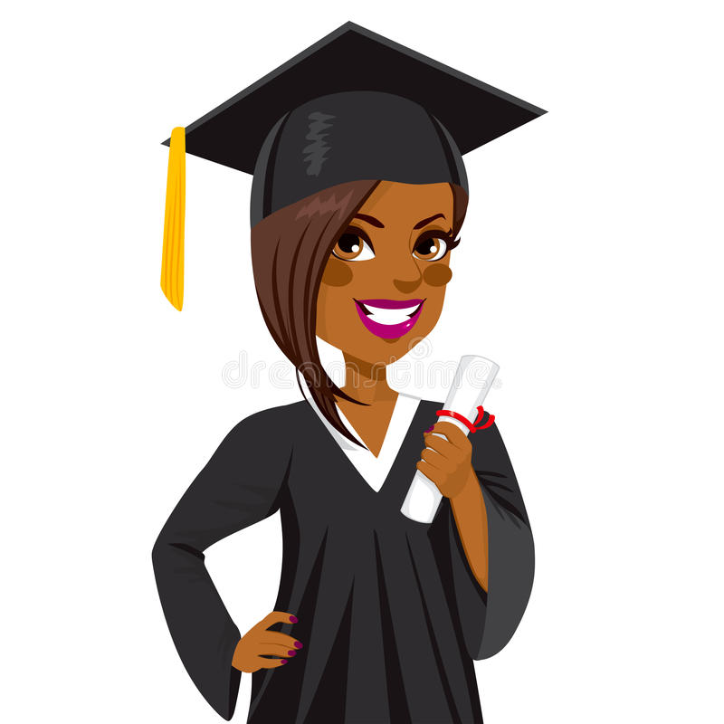 Afrikansk amerikanavläggande av examenflicka stock illustrationer