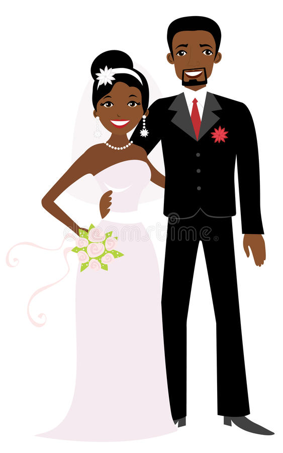 afrikansk amerikanbröllop royaltyfri illustrationer