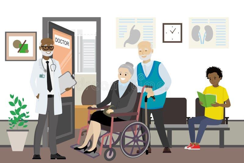 Afrikansk amerikandoktor och väntande folk nära doktorskontor vektor illustrationer