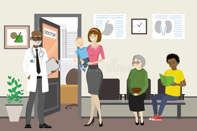 Afrikansk amerikandoktor och väntande folk nära doktorskontor royaltyfri illustrationer