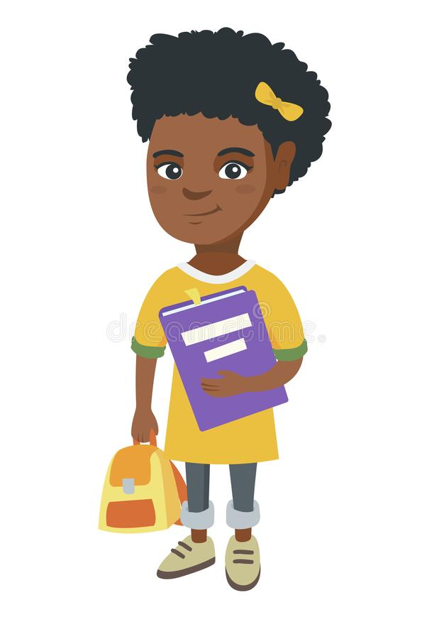 Afrikansk amerikanelev med ryggsäcken och läroboken stock illustrationer